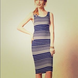 Anthropologie navy and white stripped dress